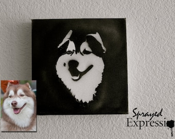"""Customizable Pet Portrait Spray Paintings, 8""""x8"""" Canvas - Made to Order"""