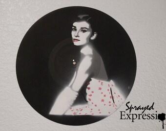 Audrey Hepburn Vinyl Record Painting
