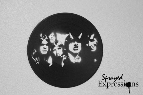 AC/DC Vinyl Record Painting by SprayedExpressions on Etsy