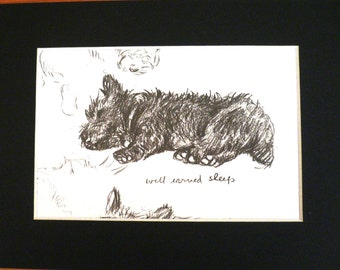 SCOTTISH TERRIER DOG Vintage Mounted 1937 'Mac' Lucy Dawson sleeping dog plate print Unique birthday Thanksgiving dog lover gift