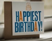 "Set of 4 Letterpress Birthday Cards - ""Happiest Birthday"""