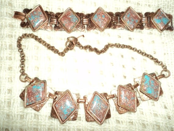 Copper and turquoise necklace and bracelet