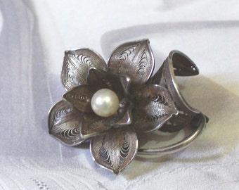 Vintage Silver Flower Brooch, Pearl Brooch