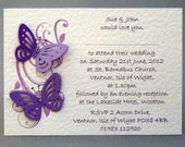 Gorgeous Personalised Handmade Wedding Invitations with Butterflies - Pack of 25