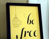 mustard yellow framed bird cage print, be free