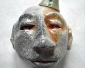 Ceramic Hand Sculpted Face Head Party Hat Soda Fired Green Party Hat