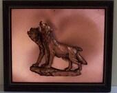 Framed Copper Wolves Reilef 3D Wolf Artwork Copper Backing