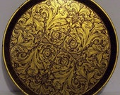 Vintage Round Black Gold English Tin Tray Abstract Funky Giftcharm British Tin Serving Tray