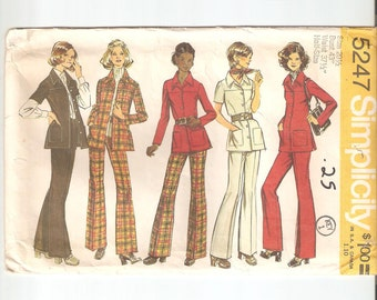 Vintage UNCUT Simplicity Sewing Pattern 5247 for Shirt, Jacket and Pants, Sz 20 1/2, 1970s