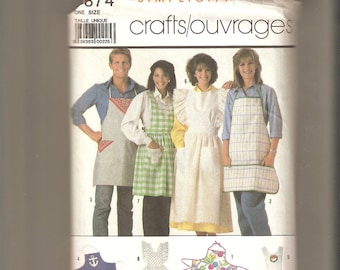 Vintage Simplicity Sewing Pattern for Aprons, 1980s