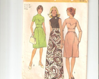 Vintage Simplicity Sewing Pattern 5236 for Dress, Sz 14, 1970s