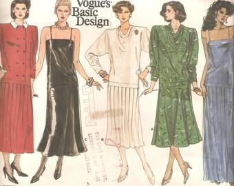 Vintage UNCUT Vogue Sewing Pattern for Dress, Sz 16, 1980s