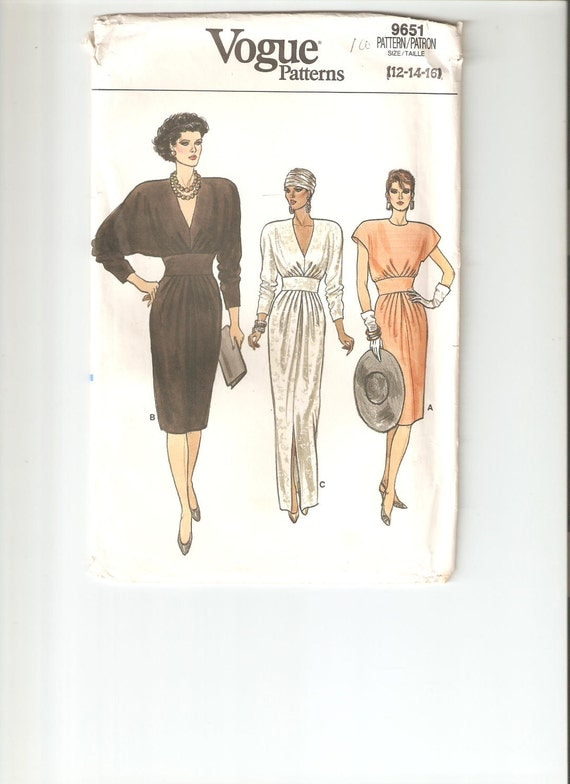 UNCUT Vintage Vogue Sewing Pattern 9651 for Dress, Sz 12-14-16, 1980s