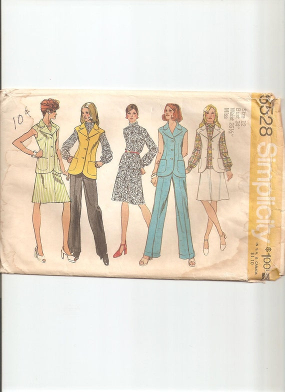 Vintage Simplicity Sewing Pattern 5528 for Blouse, Skirt, Pants and Vest, Sz 12, 1970s