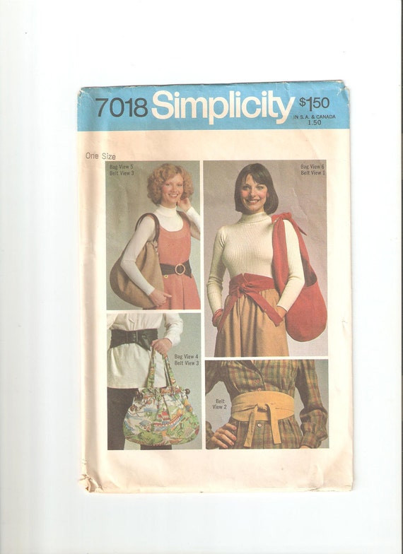 Vintage Simplicity Sewing Pattern 7018 for Bags and Belts, 1970s