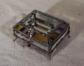 Hummingbird Carved Glass Jewelry Box -  Faberge Style
