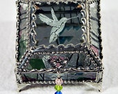 Humming Bird Carved Glass Jewelry Box -  Faberge Style