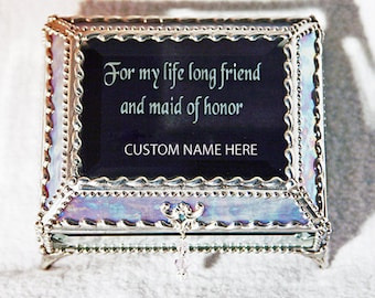 Maid of Honor Carved Glass Jewelry Treasure Box -  Faberge Style