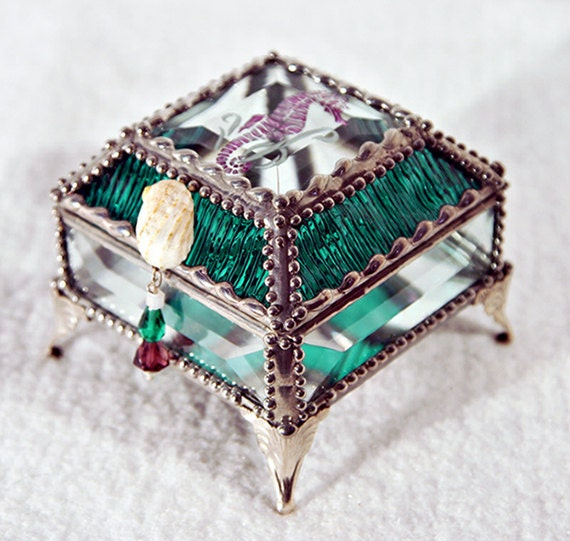 Seahorse Carved Glass Jewelry Box -  Faberge Style
