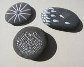 Set of Three Painted Gray Beach Stones