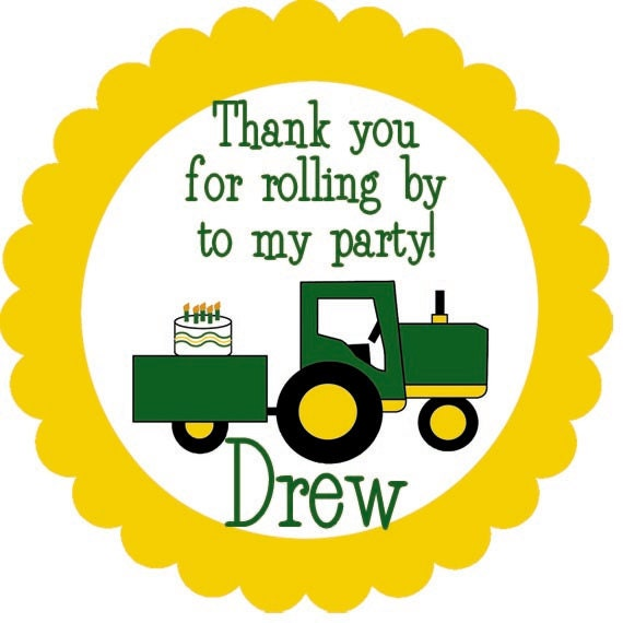 John Deere Tractor Birthday Party Label Cupcake Topper Printable DIY