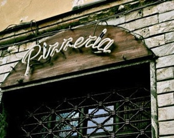 Pizzeria: Turin, Italy  - Travel Photography [SALE European Shabby Chic Historical Architecture Vintage Neon Sign decor Urban Brick Pizza]