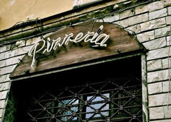 Pizzeria: Turin, Italy  - Travel Photography [SALE European Shabby Chic Historical Architecture Vintage Neon Sign decor Urban Brick Pizza]