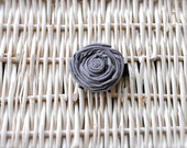 Handmade Grey Fabric Flower Clip wrapped in Black ribbon. Ready to ship
