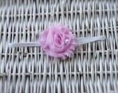 Pink Shabby Chiffon Flower with a Pearl and Lace on thin White Elastic band. Newborn-Adult Size Headband