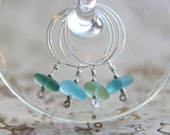 Reserved for Amy Altz - Handmade Sea Glass Wine Charms - Set of SIX