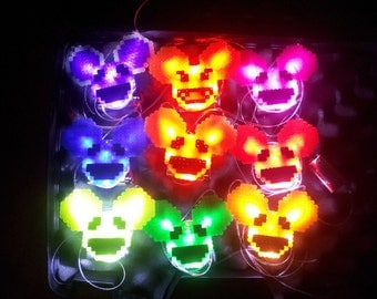 Custom Light Up Glow Necklace / Pin - Rave Kandi Deadmau5 LED Perler Bead Music mouse head show battery bright dubstep house dj electric