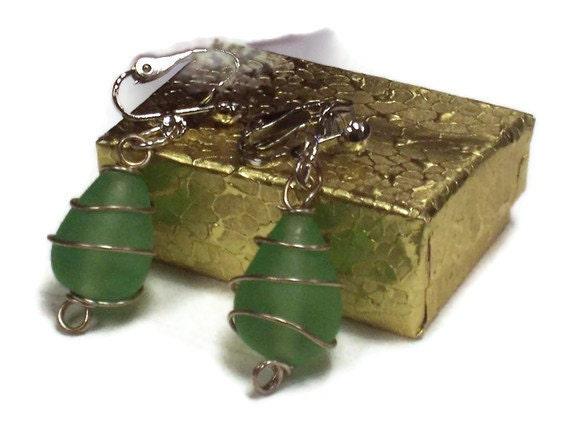SALE 50 PERCENT OFF Green Glass Clip Earrings