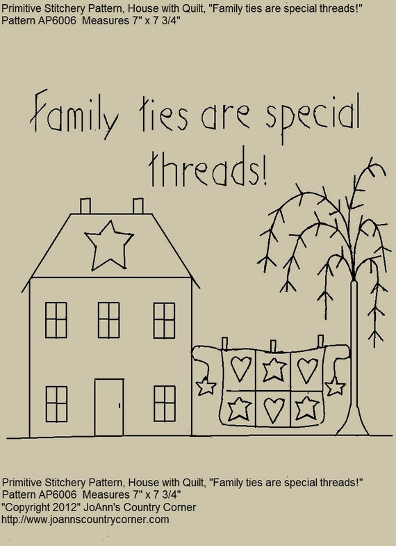 Primitive Stitchery E pattern Family Ties Are Special