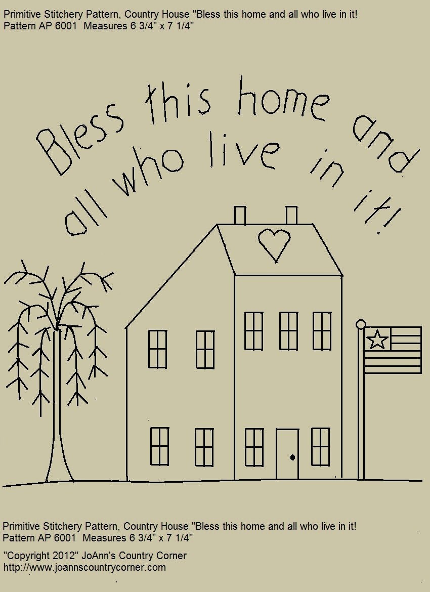 Primitive stitchery e pattern saltbox house bless this for House of patterns