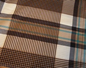 Fabric Destash Chocolate Brown, Cream, and Teal Plaid  - 3.5 yards
