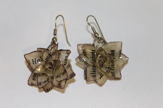 Handmade Paper Flower earrings- rose / lotus