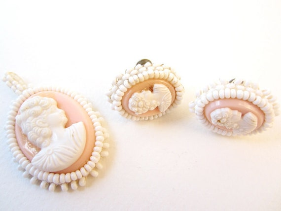 Vintage Handmade Pink and White Cameo Set // Pendant and Earrings // Shabby Chic Milkglass & Plastic Jewelry