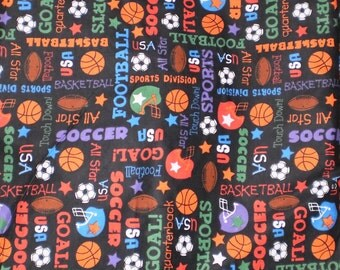 """Fabric All Sports flannel 1/2 yard x 43"""" wide double napped brushed black Football Helmet Soccer"""