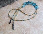 27 inch beaded EYEGLASS chain holder - vintage czech tube beads gold, Turquoise czech beads - Item 2043