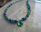 Gorgeous Glass Beaded necklace in turquoise and green - Item 2044