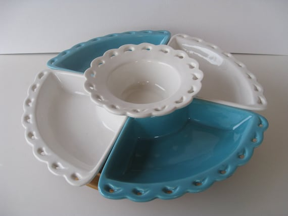 Vintage Turquoise and White Relish Tray with Lazy Susan (SUMMER SALE- was 35 dollars)