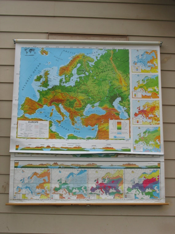 "Vintage Nystrom School Pull Down / Retractible Wall Map of Europe with Original wall mounts (71"" x 65"") (was 220 dollars)"