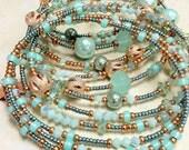 Aqua & Copper Oval Memory Wire Bracelet