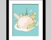 Nursery decor, around the world, kids art, kids gift, travel around the world flying around the world