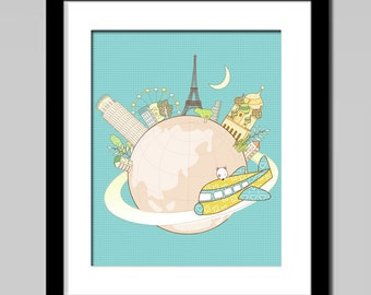 Nursery decor, around the world, kids art, kids gift, travel around the world flying around the world