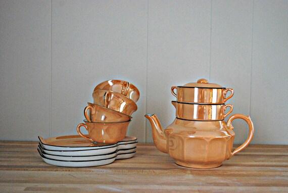 Peach Lusterware Tea Set