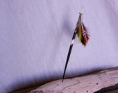Hair Stick, African Quill,Feathers,Beads,Leather, Spent 22 caliber silver casing, Unique, Handmade