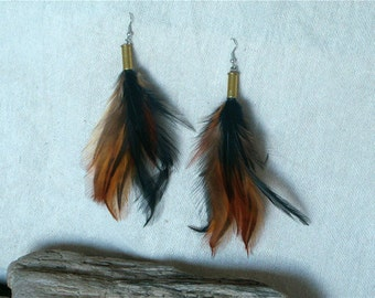 Handmade Pheasant Feather Earrings, Brown , Black , 22 cal Spent Casing