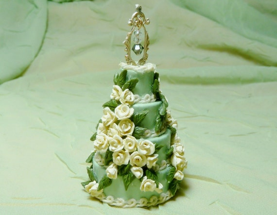 """RESERVED for Jessie--1:12 Scale Dollhouse Miniature Wedding Cake--""""Summer Rose"""""""