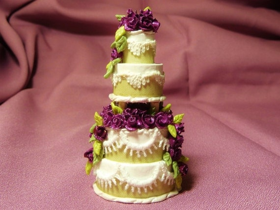 "1:12 Scale Dollhouse Miniature Wedding Cake--""Passion"""